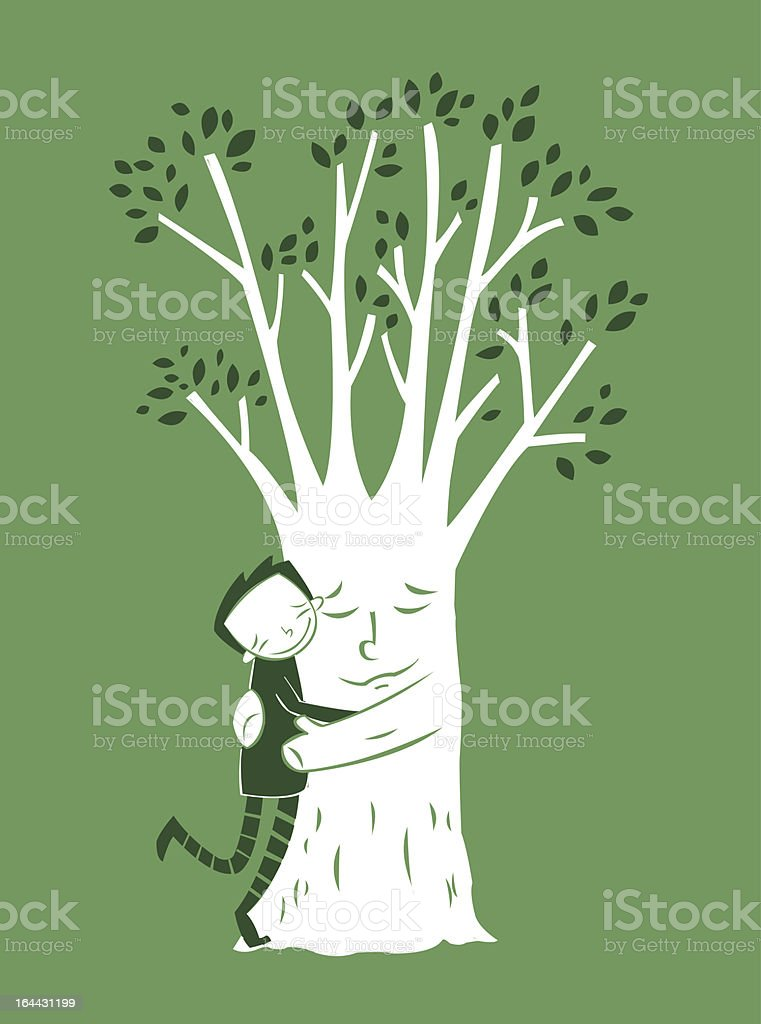 Tree Hugger vector art illustration
