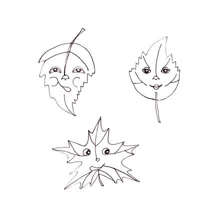 Tree leaves with faces, leaf personalization, graphic black and white drawing, ecological concept