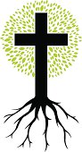christian cross as a tree with roots and leafs