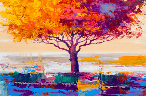 Tree oil painting, artistic background Oil painting landscape, colorful  tree.  Hand Painted Impressionist, outdoor landscape. impressionism stock illustrations