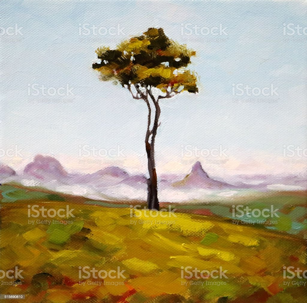 Tree on a Hilltop with View Painting vector art illustration