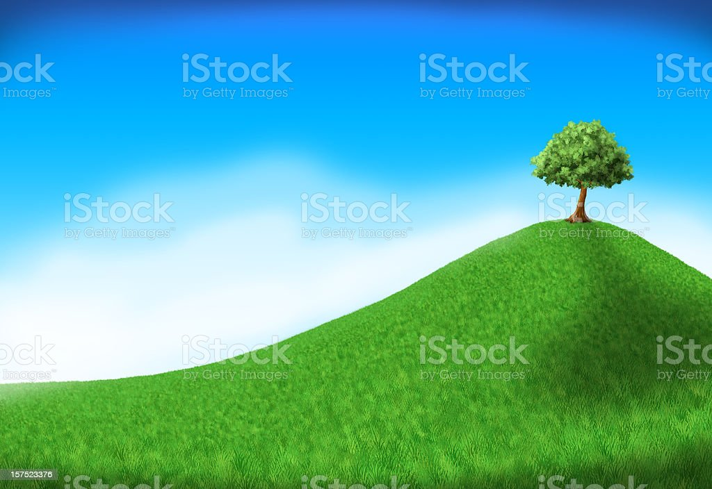 tree on hill vector art illustration