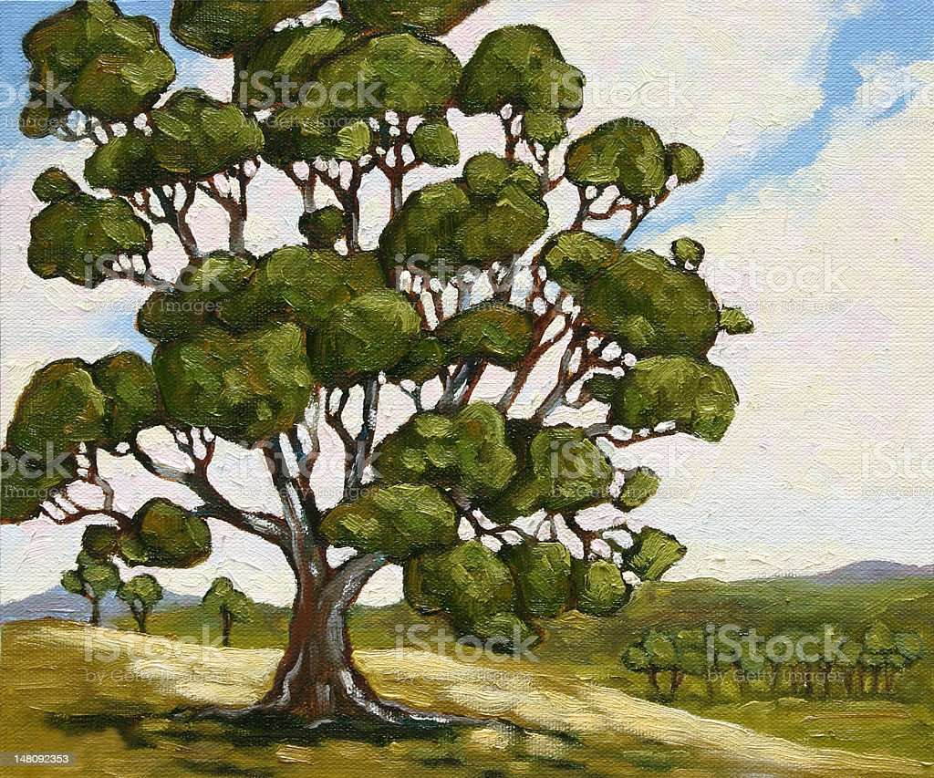 Tree on Hill landscape Oil Painting vector art illustration