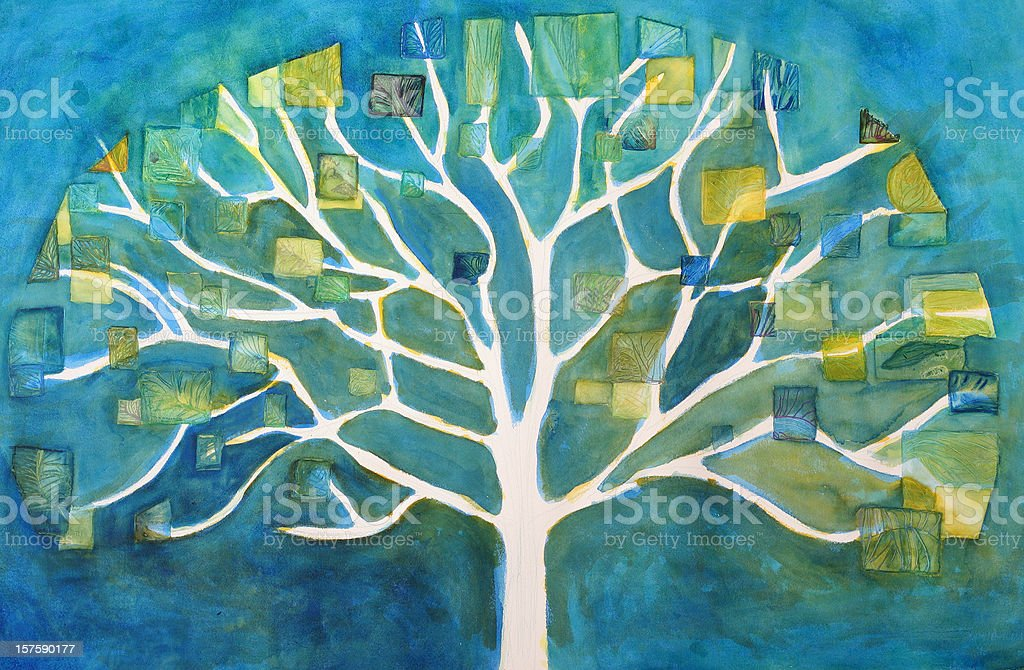 Tree Painting vector art illustration