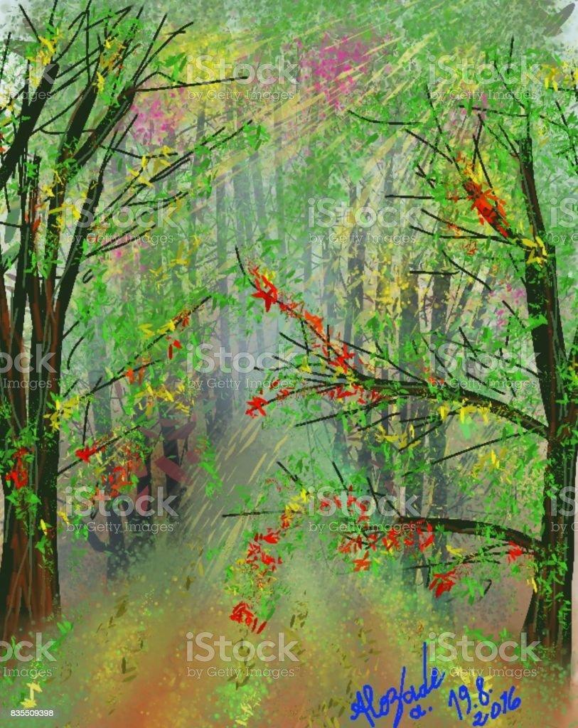 Tree road vector art illustration