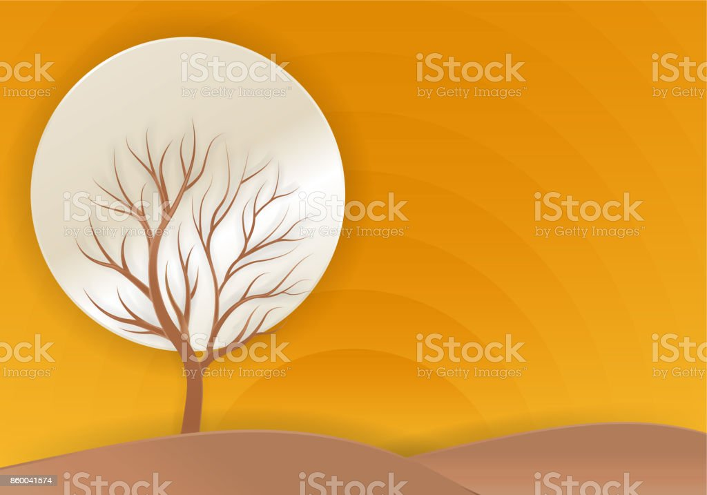 tree winter with full moon  Mid Autumn Festival ,paper art style. vector art illustration