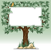 Tree with blank tablet