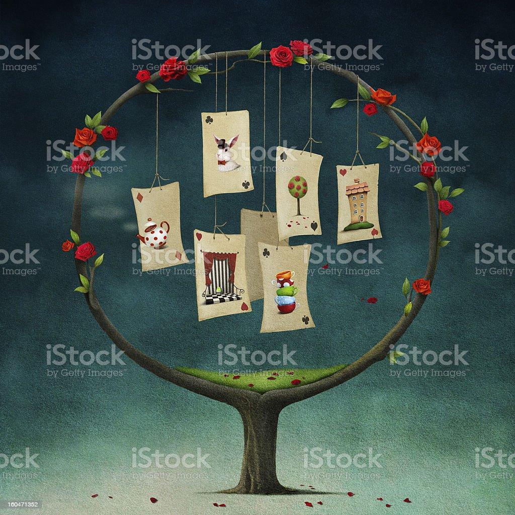 Albero con carte - illustrazione arte vettoriale
