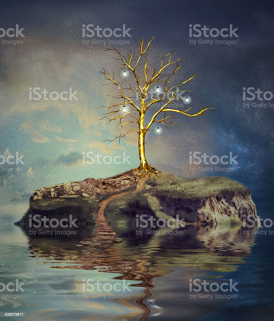 Tree with light bulbs on an island on the small lake vector art illustration