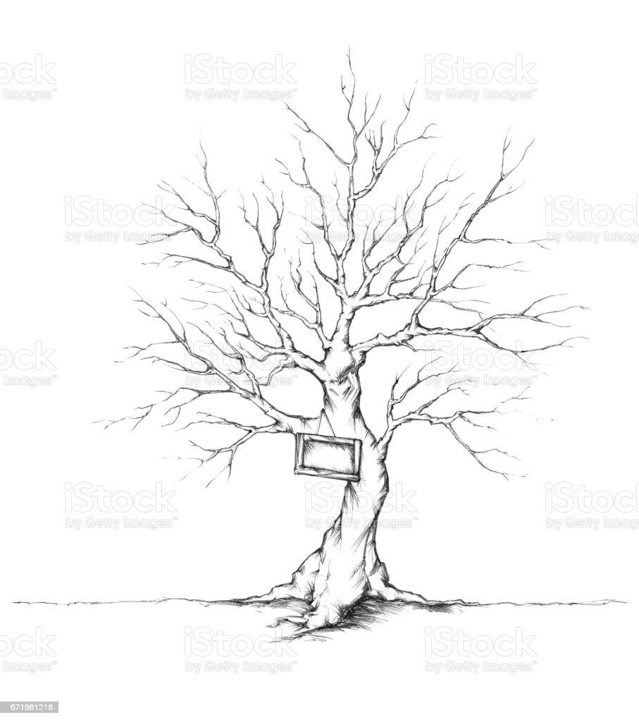 Baum mit Schild – Vektorgrafik