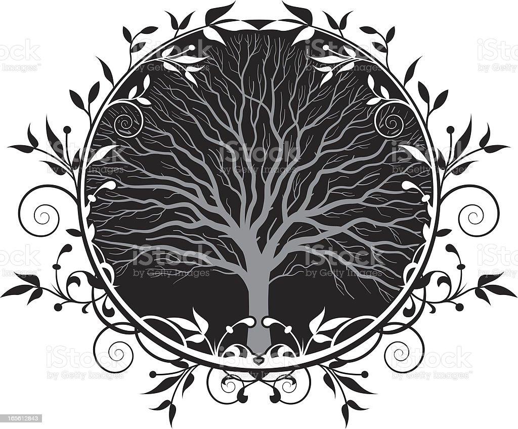 Tree wreath two vector art illustration