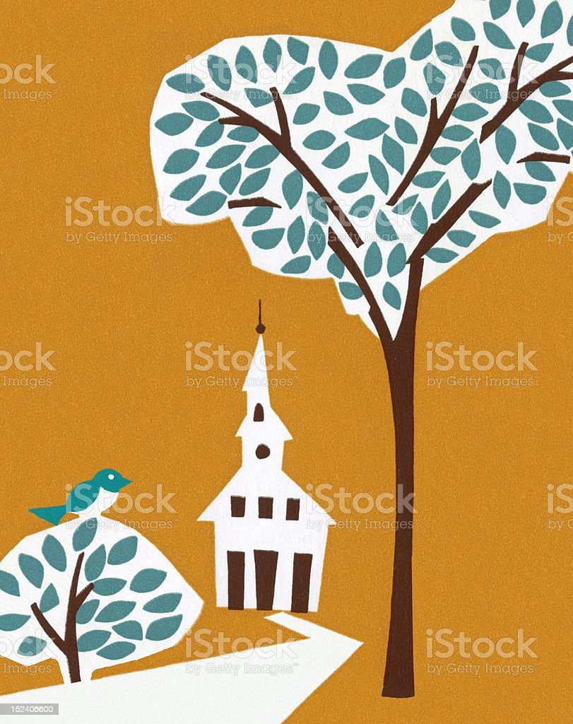 Trees and Church royalty-free stock vector art