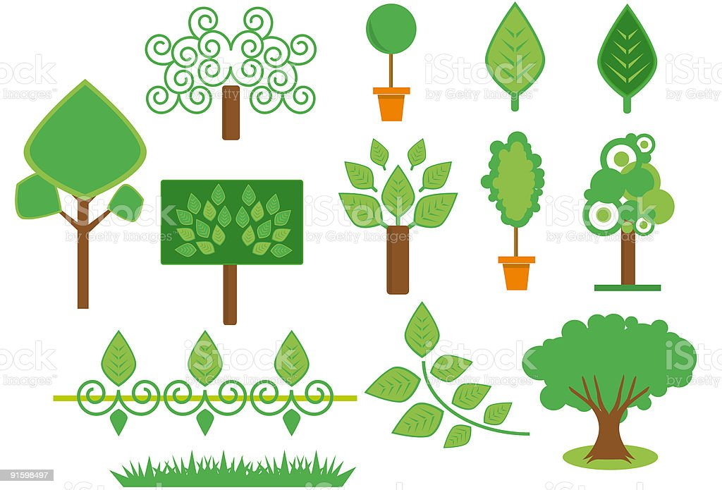 trees and plants set royalty-free stock vector art