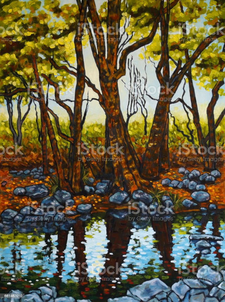 Trees and Rocks Reflected in a River with Afternoon Sunlight Original Landscape Artwork vector art illustration