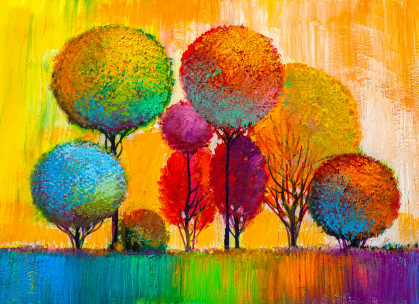 Trees, oil painting, artistic background Oil painting landscape, colorful  trees.  Hand Painted Impressionist, outdoor landscape. impressionism stock illustrations