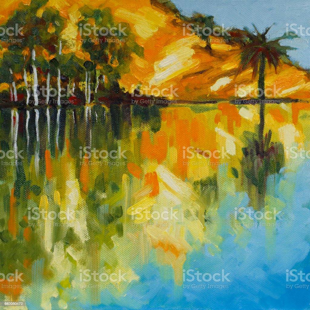 Trees Reflected in a Lake with Morning Sunlight Original Landscape Artwork vector art illustration