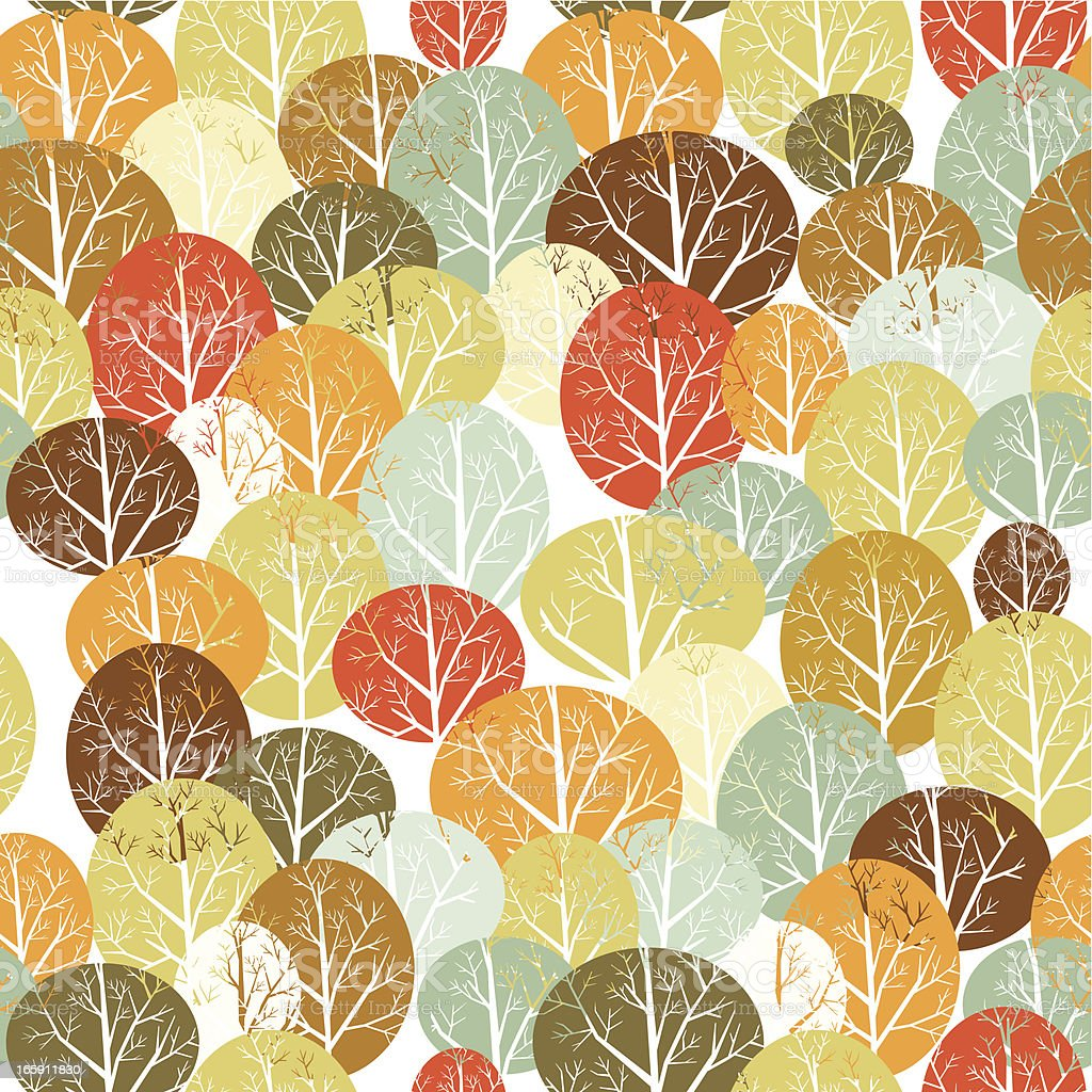 Trees seamless pattern vector art illustration