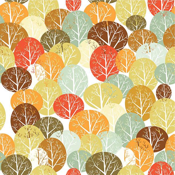Trees seamless pattern vector art illustration
