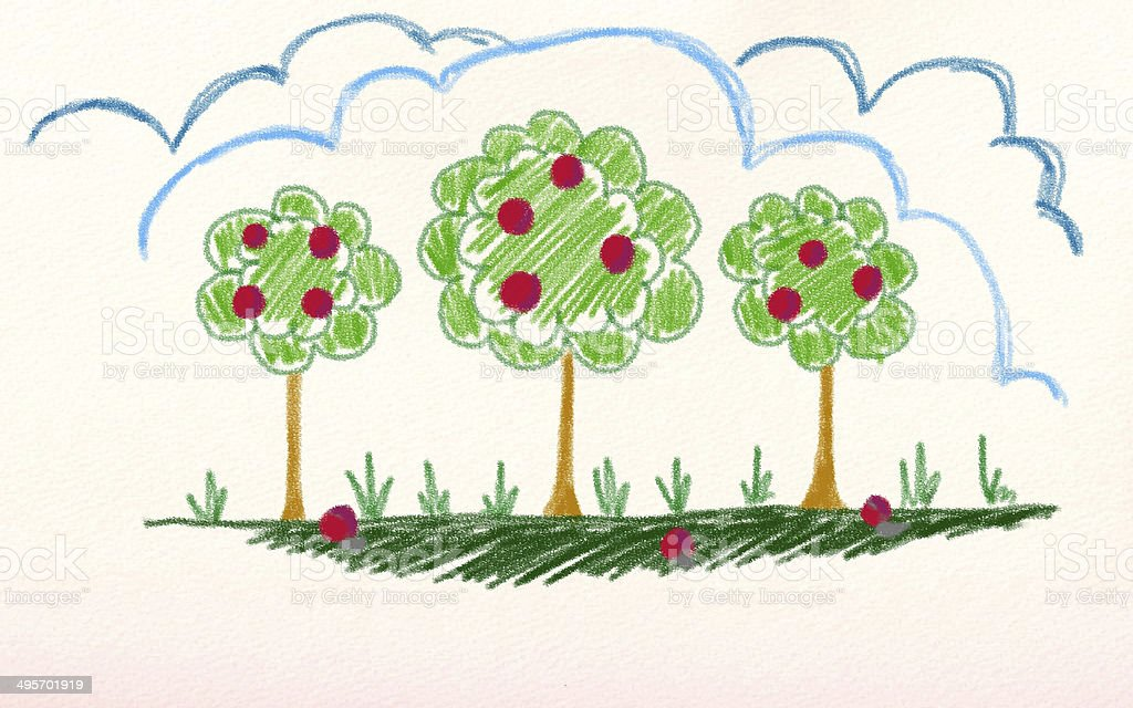 trees with apple vector art illustration