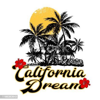 istock Trendy fashion T-shirt print for textile california dream text design pattern 1166080843