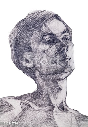 Trendy graphic illustration modern work of art allegory original pencil drawing on paper impressionism symbolic vertical portrait romantic handsome young man with dark short hair isolated on white paper background