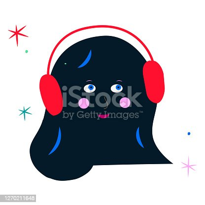 istock Trendy Halloween trick or treat emo monster illustration. Young female monster with happy face relaxing wearing headphones listening to music or ASMR stars tingles galore. Weird art ASMR blob amoeba creature in cartoon style, isolated. Nighttime pleasure 1270211648