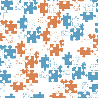 Trendy pattern with puzzle pieces.