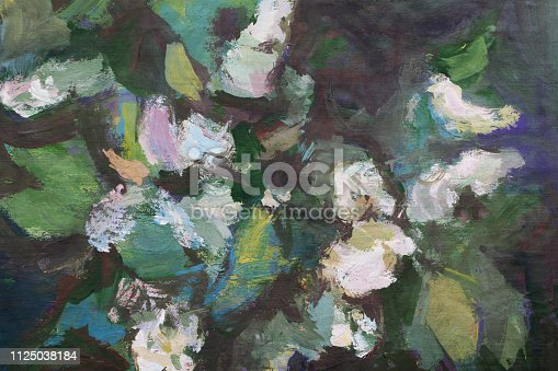 Trendy spring illustration modern art work my original oil painting on canvas impressionism horizontal landscape bush bird cherry branch flowers and buds of a plant lit by the sun on a dark green background