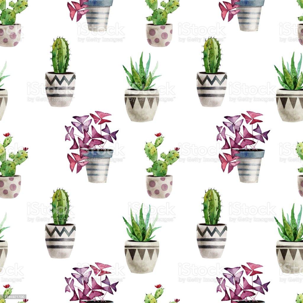 Plante D Intérieur Tendance modèle daquarelle tendance sans couture avec des plantes dintérieur dans  des pots peut Être utilisé pour la scrapbooking affiches papier peint  textile
