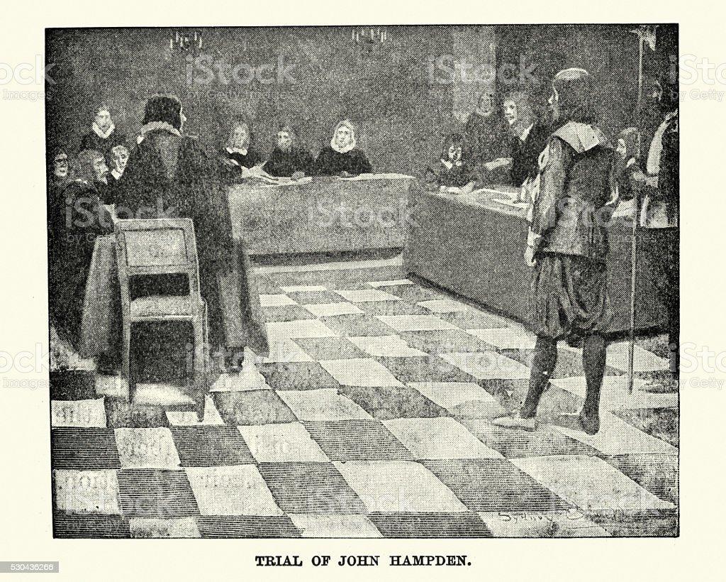 Trial of John Hampden in 1637 vector art illustration