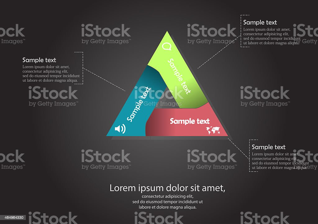 Triangle motif infographic vector art illustration