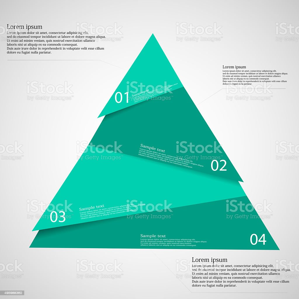 Triangle randomly cut to four parts on light vector art illustration