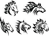 Set of 5 tribal horses