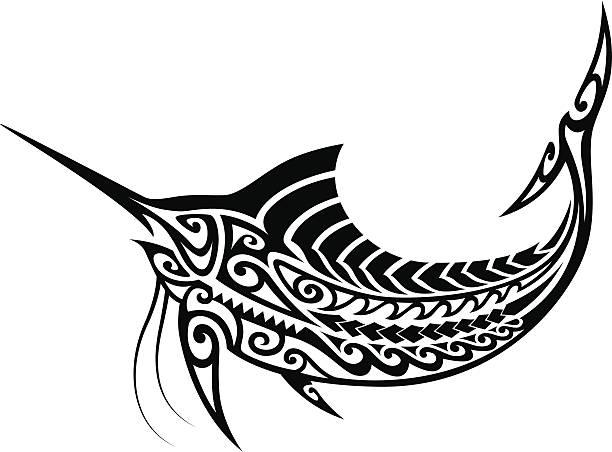 tribal marlin - maori tattoos stock-grafiken, -clipart, -cartoons und -symbole