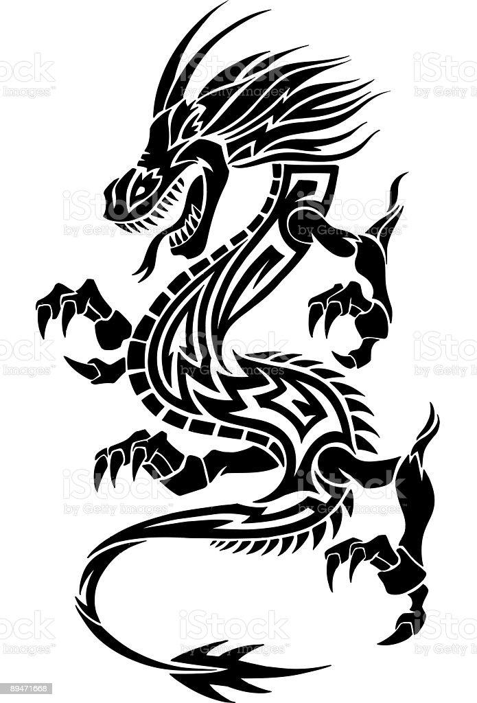 Tribal Tattoo Dragon Vector Illustration royalty-free tribal tattoo dragon vector illustration stock vector art & more images of animal