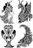Tribal tattoo with soft swirls.