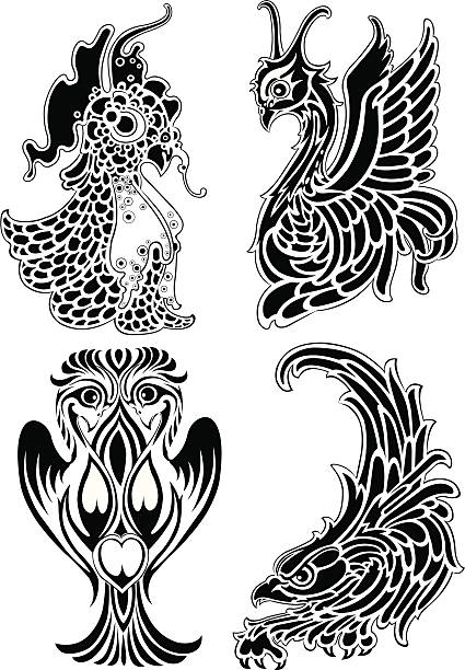 Double Dragon Tattoo Drawings Illustrations Royalty Free Vector