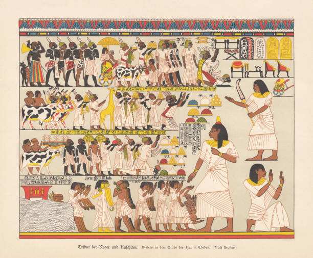 Tributes of African tribes, Thebes, Qurnet Murrai, chromolithograph, published 1879 Huy receives tributes from Black Africans and Kushites for the Pharaoh. Chromolithograph after an ancient wall painting from the tomb of Amenhotep, called Huy, in Thebes (TT40, Qurnet Murrai), published in 1879. ancient egyptian culture stock illustrations