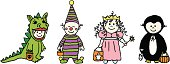 A group of babies dressed in halloween costumes.
