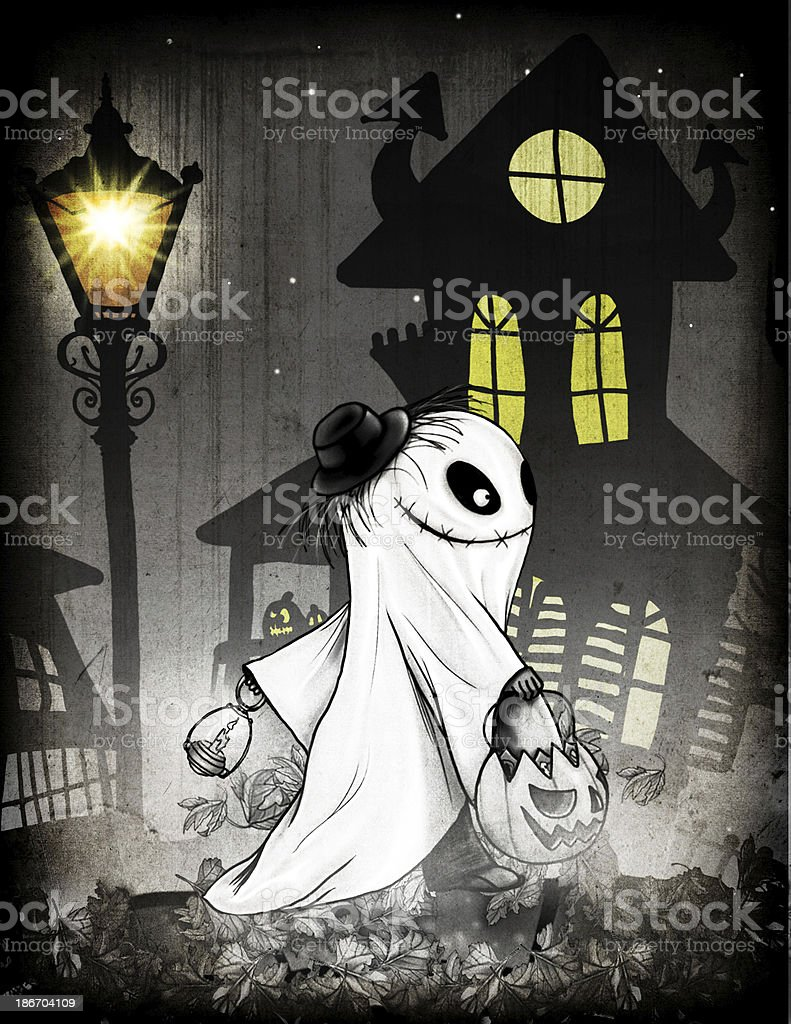Trick-or-treating Child Dressed as a Ghost Illustration royalty-free stock vector art