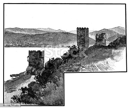Illustration of a  Tricule medieval citadel on the Danube, near Svinita, Romania. The citadel was flooded during the construction of Portile de Fier 1 dam