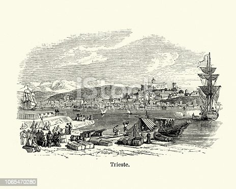 Vintage engraving of a View of Trieste, Italy, 19th Century. Trieste is the capital city of the Friuli Venezia Giulia region in northeast Italy. A port city