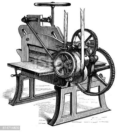Antique illustration of a trimming machine