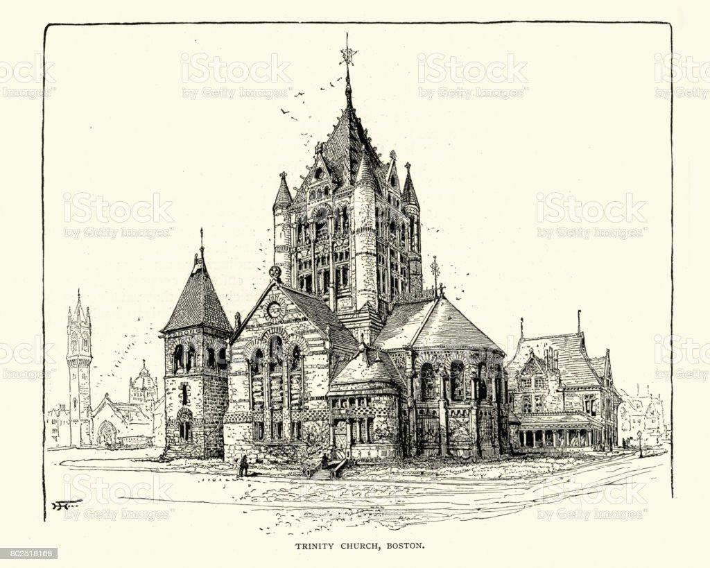 Trinity Church, Boston, 19th Century vector art illustration