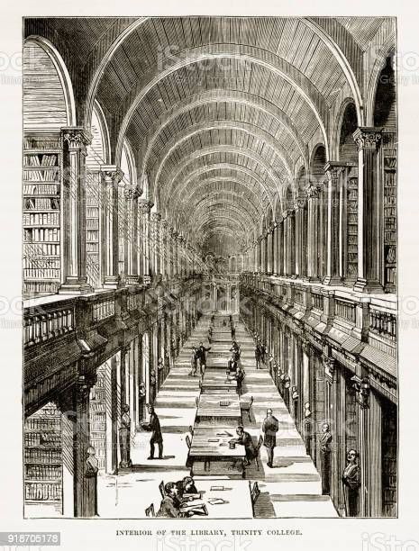 Trinity College Library In Dublin Ireland Victorian Engraving Circa 1840 Stock Illustration - Download Image Now