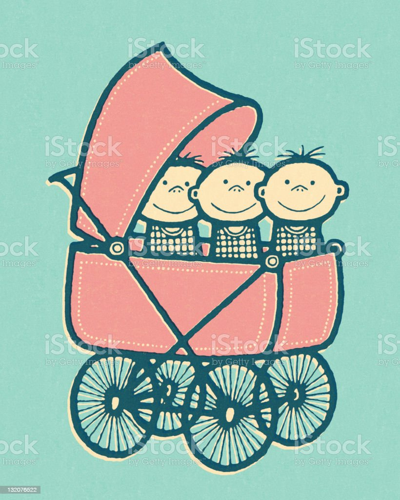 Triplet Babies in Baby Buggy royalty-free triplet babies in baby buggy stock vector art & more images of babies only