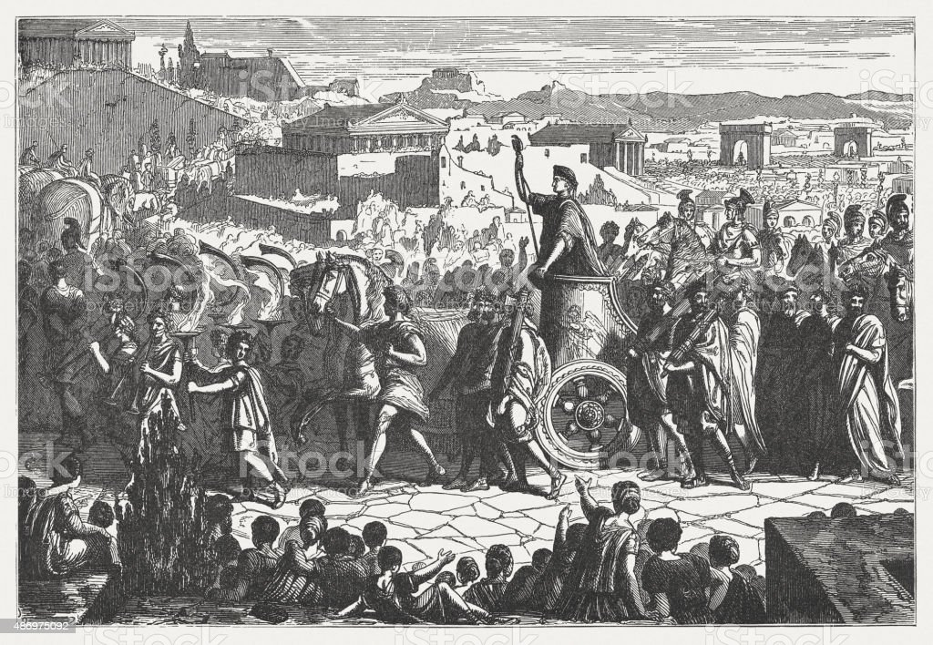 Triumph of Scipio Africanus in ancient Rome, published in 1878 vector art illustration