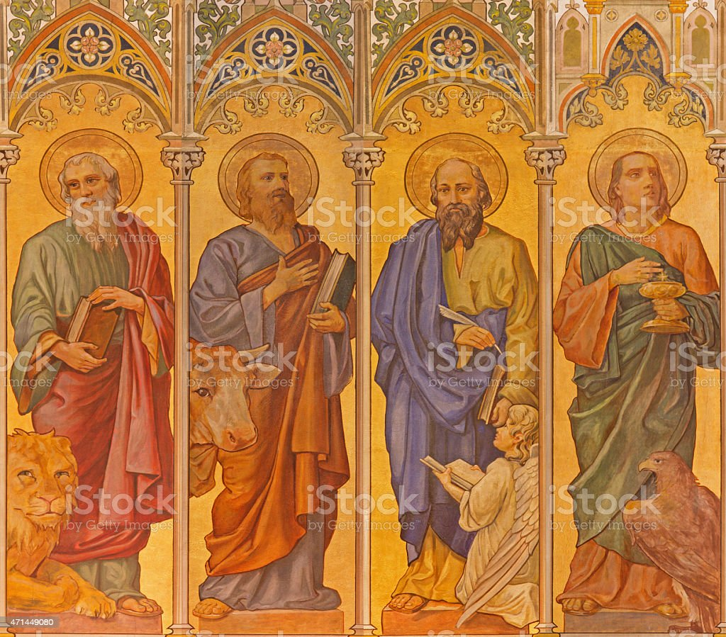 Trnava - The neo-gothic fresco of four  evangelists vector art illustration