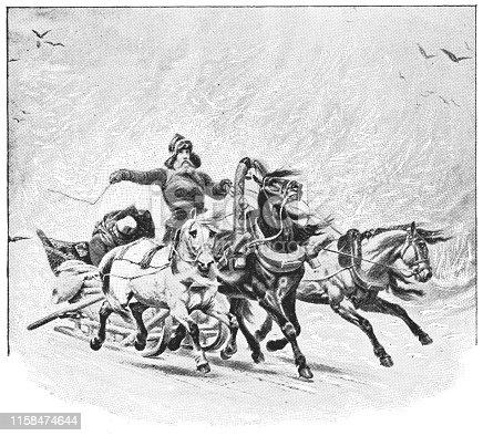 Troika in a Snowstorm by Petr Nikolaevich Gruzinsky (circa 19th century). Vintage etching circa late 19th century.