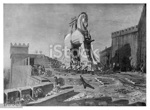 Trojan Horse  - Scanned 1894 Engraving